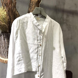 Stand Collar Long Sleeve Splicing Loose White Shirt