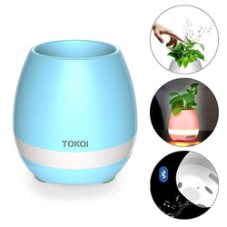 Music Flower Pot, Wireless Bluetooth Speaker, LED Light Smart Touch Music Flower Pot by, Multicolor Night Light, Play Piano Music on a real plant with colorful LED lights