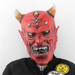 Halloween Mask Red Face Horn Devils Halloween Party Cosplay Latex Mask