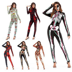 Unisex Fashion Halloween Cosplay Skeleton Animal Costume Jumpsuit