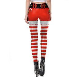 Women's Christmas Leggings Stripe Tights Workout Stretchy Pants#18