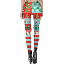 Women's Christmas Leggings Stripe Tights Workout Stretchy Pants#19