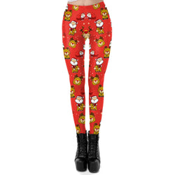 Women's Christmas Leggings Stripe Tights Workout Stretchy Pants#16