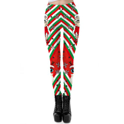 Women's Christmas Leggings Stripe Tights Workout Stretchy Pants#10