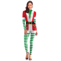 Women's Christmas Leggings Stripe Tights Workout Stretchy Rompers#01