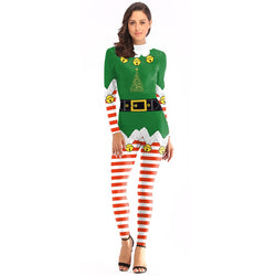 Women's Christmas Leggings Stripe Tights Workout Stretchy Rompers#02