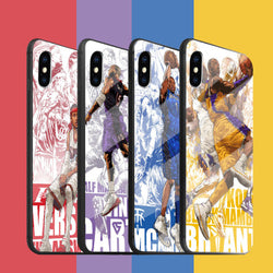 Fashion NBA Star Tempered glass Cases For iPhone 6 -8plus iPhoneXR iPhoneX/XS	 iPhoneXSMAX