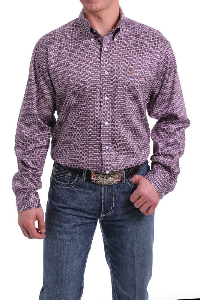 Cinch Mens Purple Geometric Print Long Sleeve Shirt