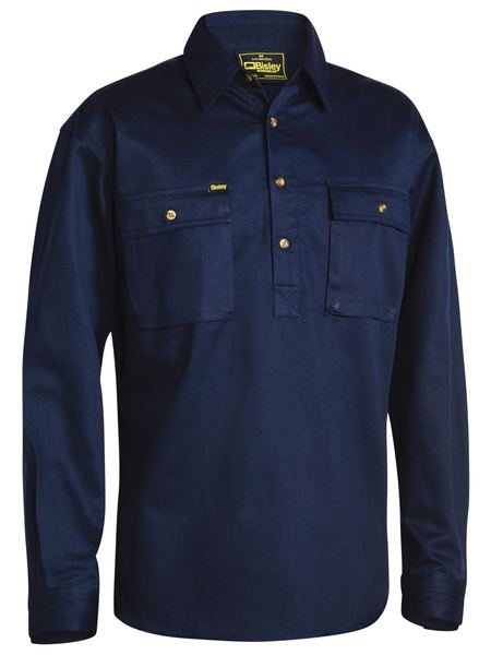 Bisley Mens Drill 1/2 Button Long Sleeve Workshirt