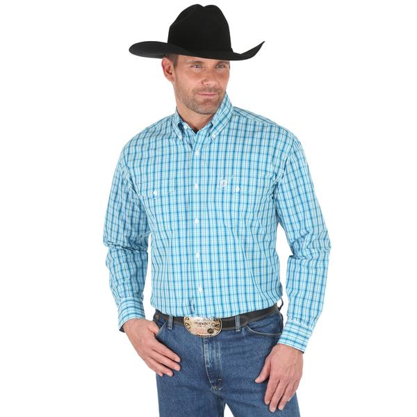 Wrangler Mens George Strait Check Long Sleeve Shirt