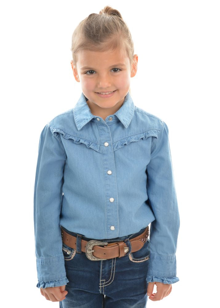 Pure Western Girls Darcy Chambray Frill Long Sleeve Shirt