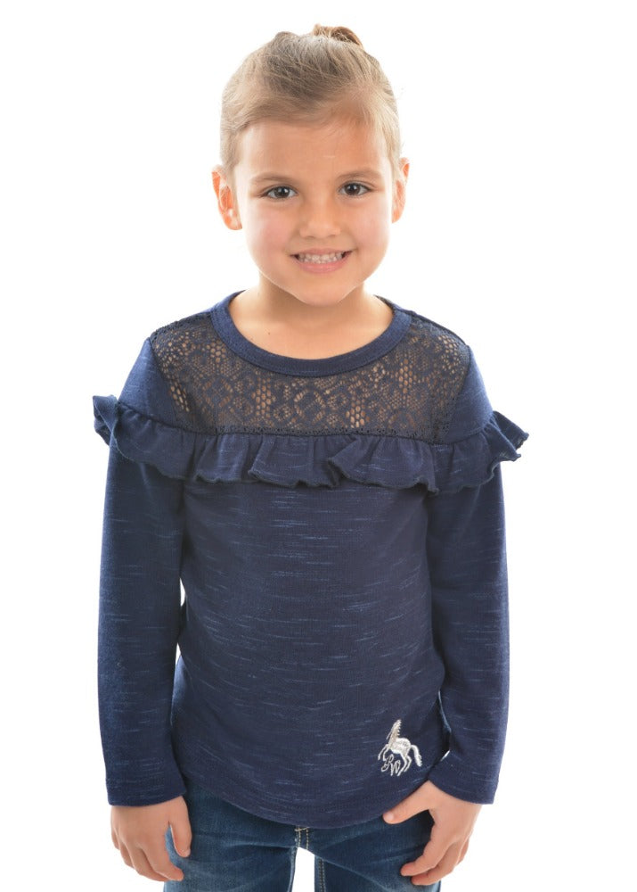 Pure Western Girls Evie Lace Yoke Top