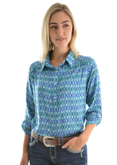 Pure Western Womens Chanel Print Long Sleeve Shirt
