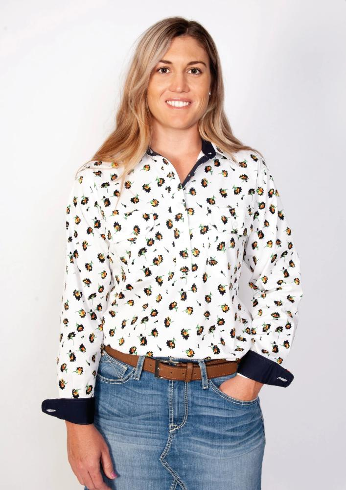 Just Country Womens Georgie Half Button Long Sleeve Shirt