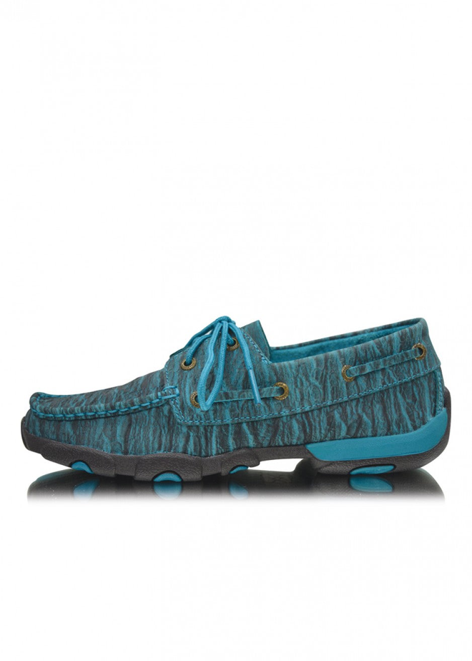 Twisted X Womens Driving Moc Blue Crinkle Lace Up Boot