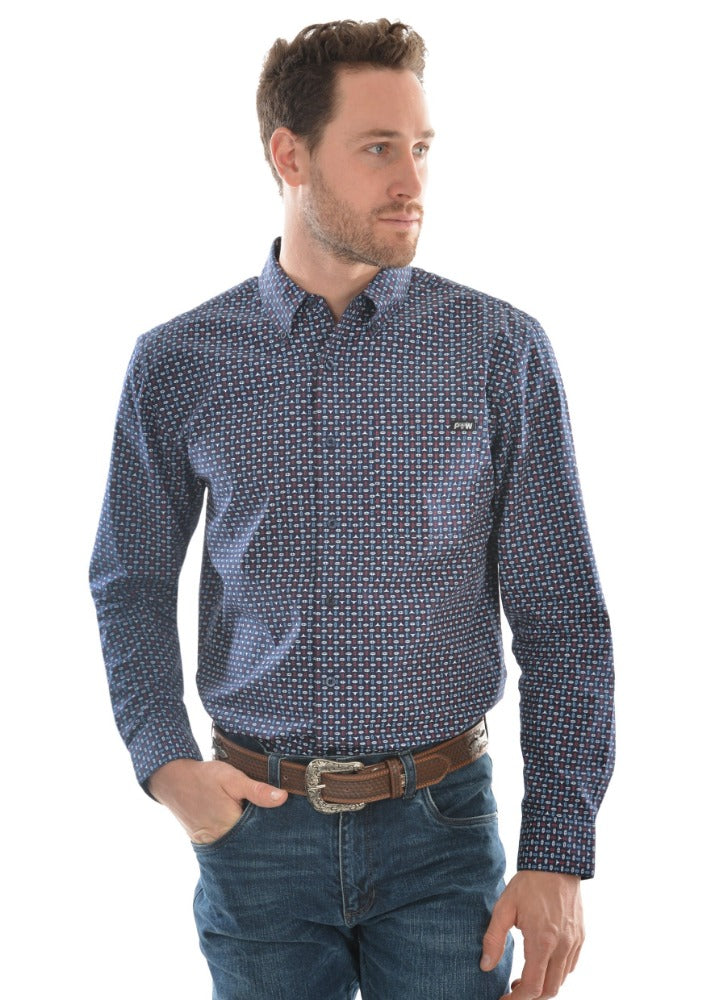 Pure Western Mens Steve Print Long Sleeve Shirt