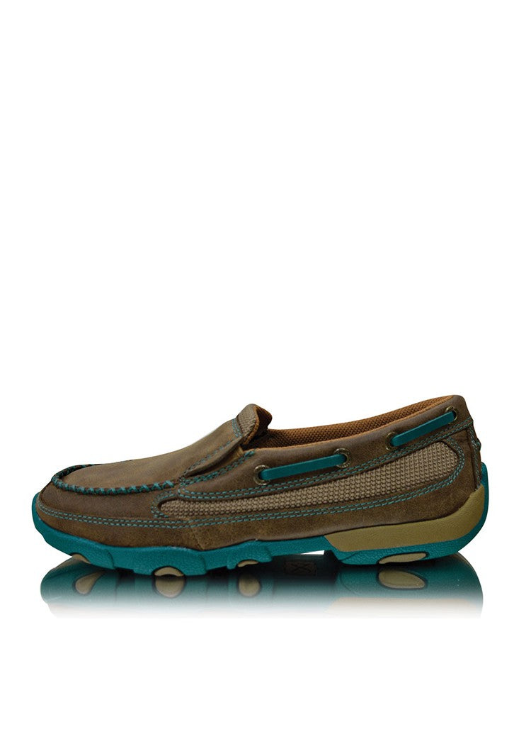Twisted X Womens Driving Moc Bomber Turquoise Slip On Boot