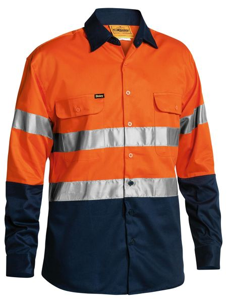 Bisley Mens HiVis Tape Full Button Workshirt BT6456