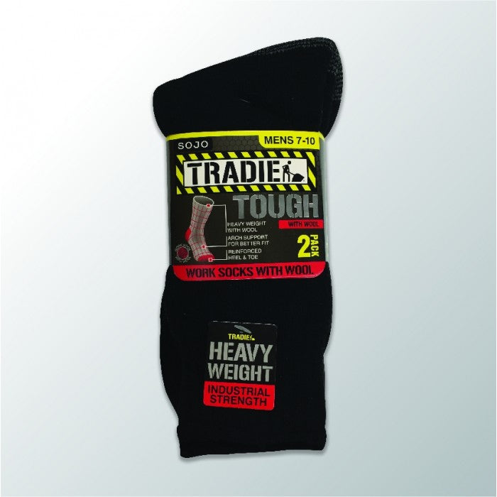 Tradie Mens Wool 2Pk Socks