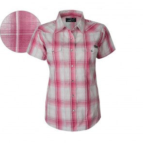 Pure Western Womens Rose Check Short Sleeve Shirt