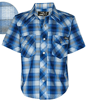 Pure Western Boys Gibson Check Short Sleeve Shirt