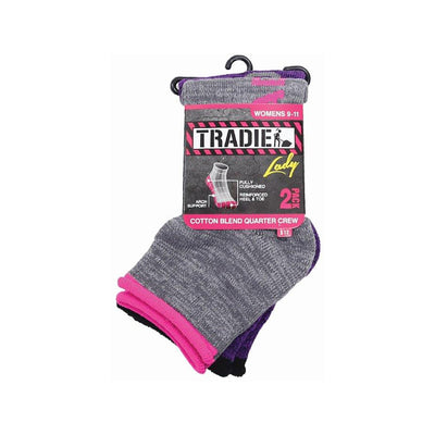 Tradie Womens Cotton Crew 2Pk Socks