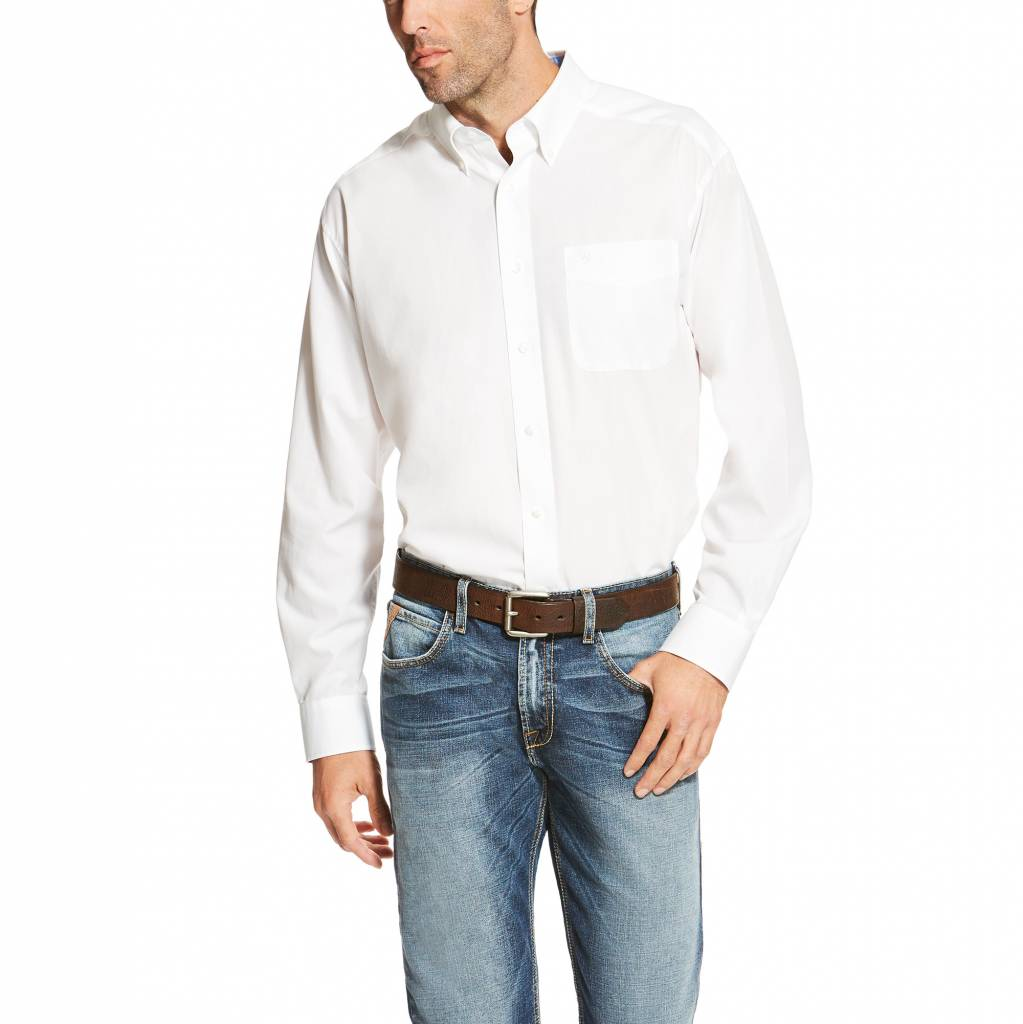 Ariat Mens Solid White Wrinkle Free Long Sleeve Shirt