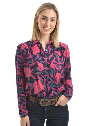 Wrangler Womens Gwendolyn Print Tab Front Long Sleeve Shirt