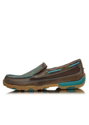 Twisted X Womens Driving Moc Turquoise Stitch Slip On Boot