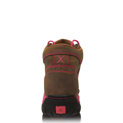 Twisted X Womens Pink Ribbon All Round Lace Up Boot