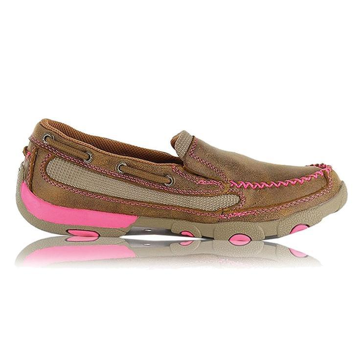 Twisted X Womens Pink Ribbon Bomber Driving Moc Slip On Boot