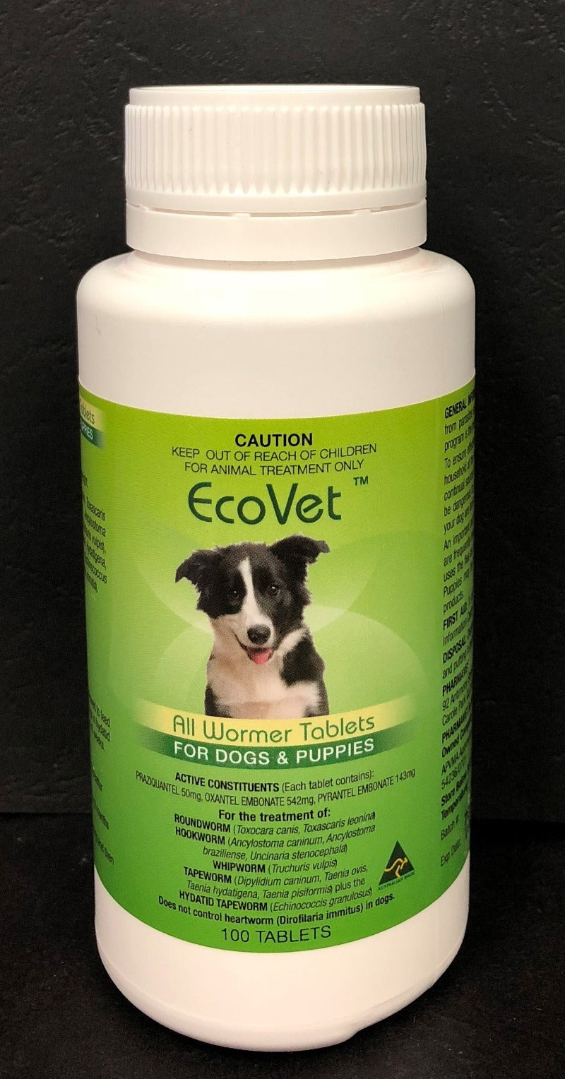 EcoVet All Wormer Tablets for Dogs 100 tabs