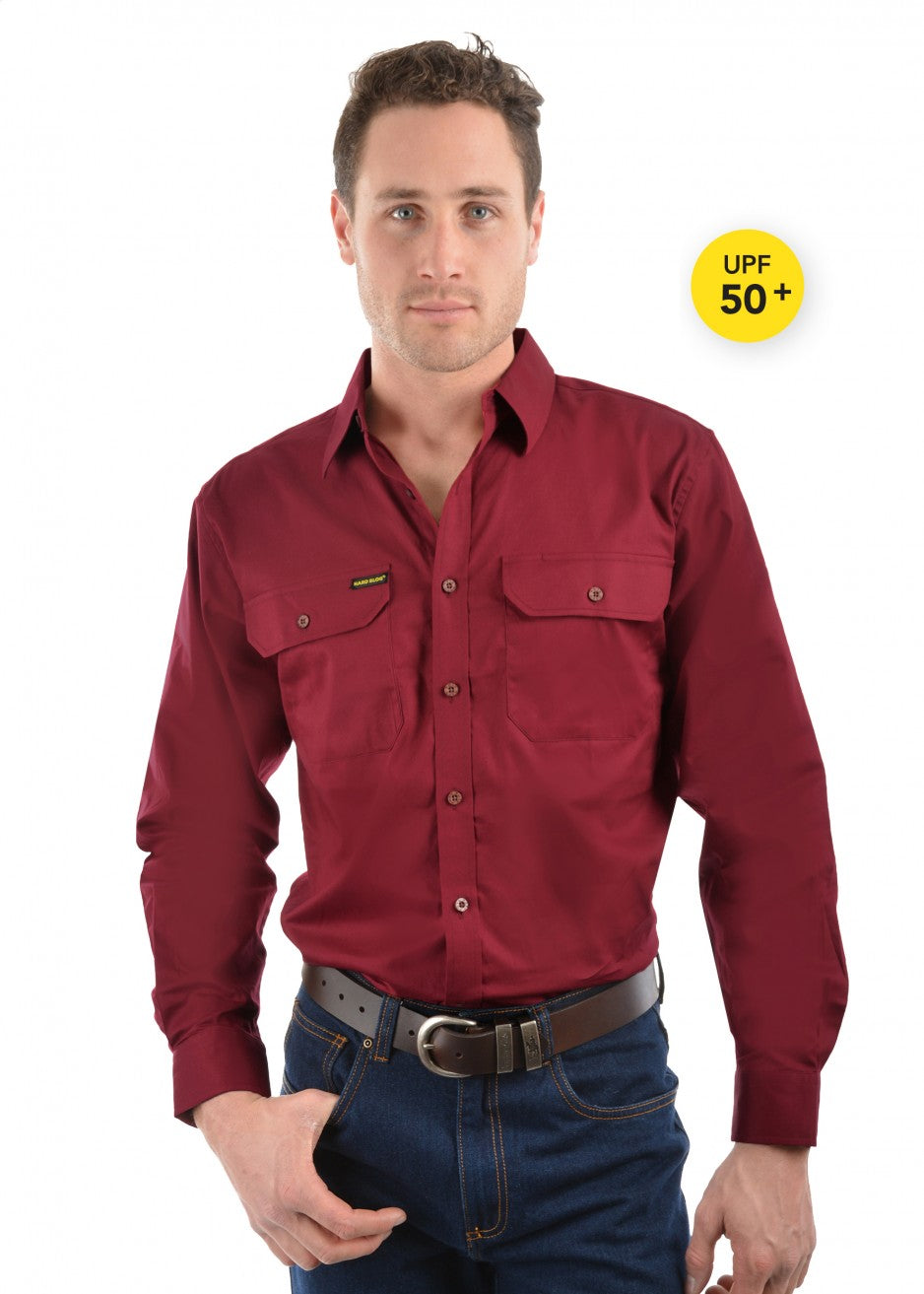Hard Slog Mens H/Drill Full Button Workshirt