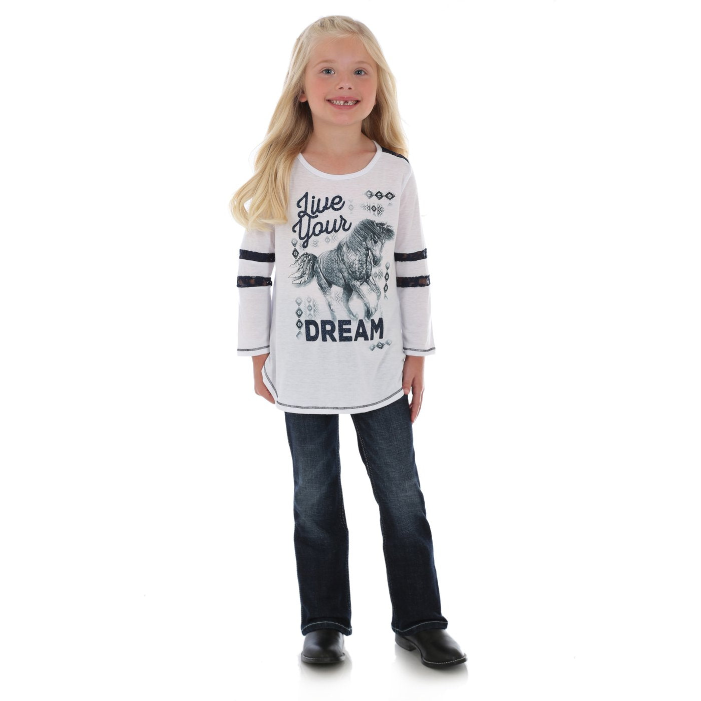 Wrangler Girls Live Your Dream 3/4 Sleeve Top