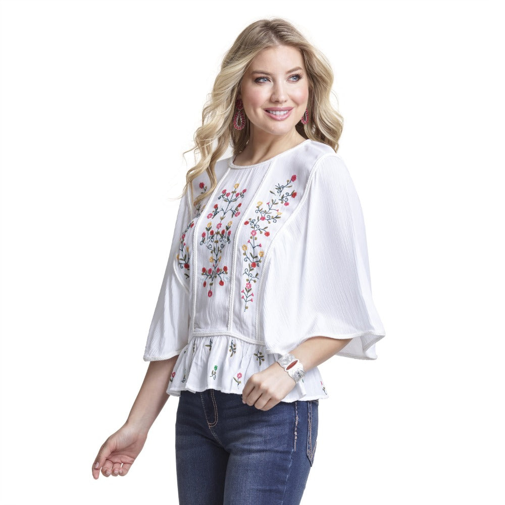 Wrangler Womens Embroidered Peasant Top