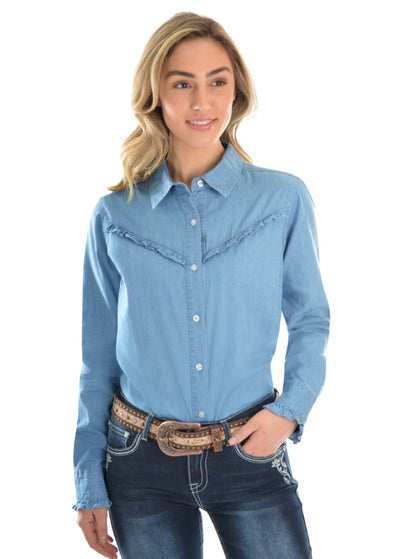 Pure Western Womens Darcy Chambray Frill Long Sleeve Shirt
