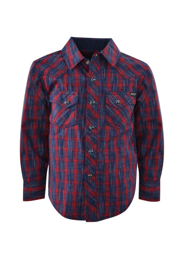 Pure Western Boys Dalwood Check Long Sleeve Shirt