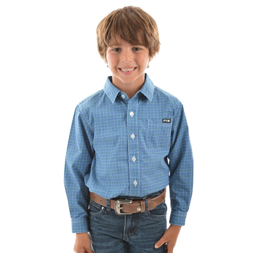 Pure Western Boys Rhett Print Long Sleeve Shirt