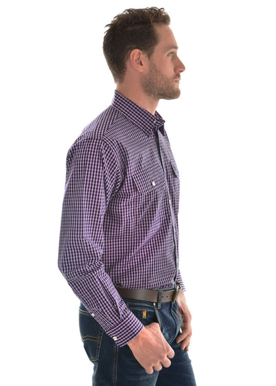 Thomas Cook Mens Henley Check Long Sleeve Shirt