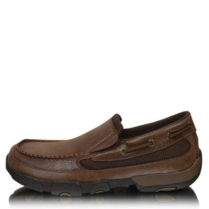 Twisted X Mens Driving Moc Brown Slip On Boot