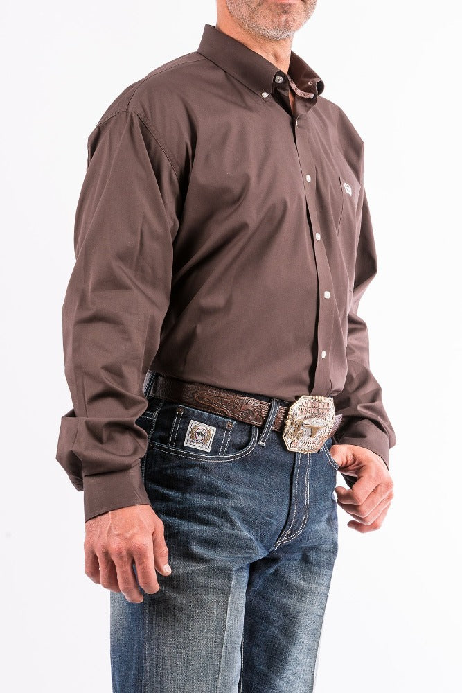 Cinch Mens Solid Brown Long Sleeve Shirt