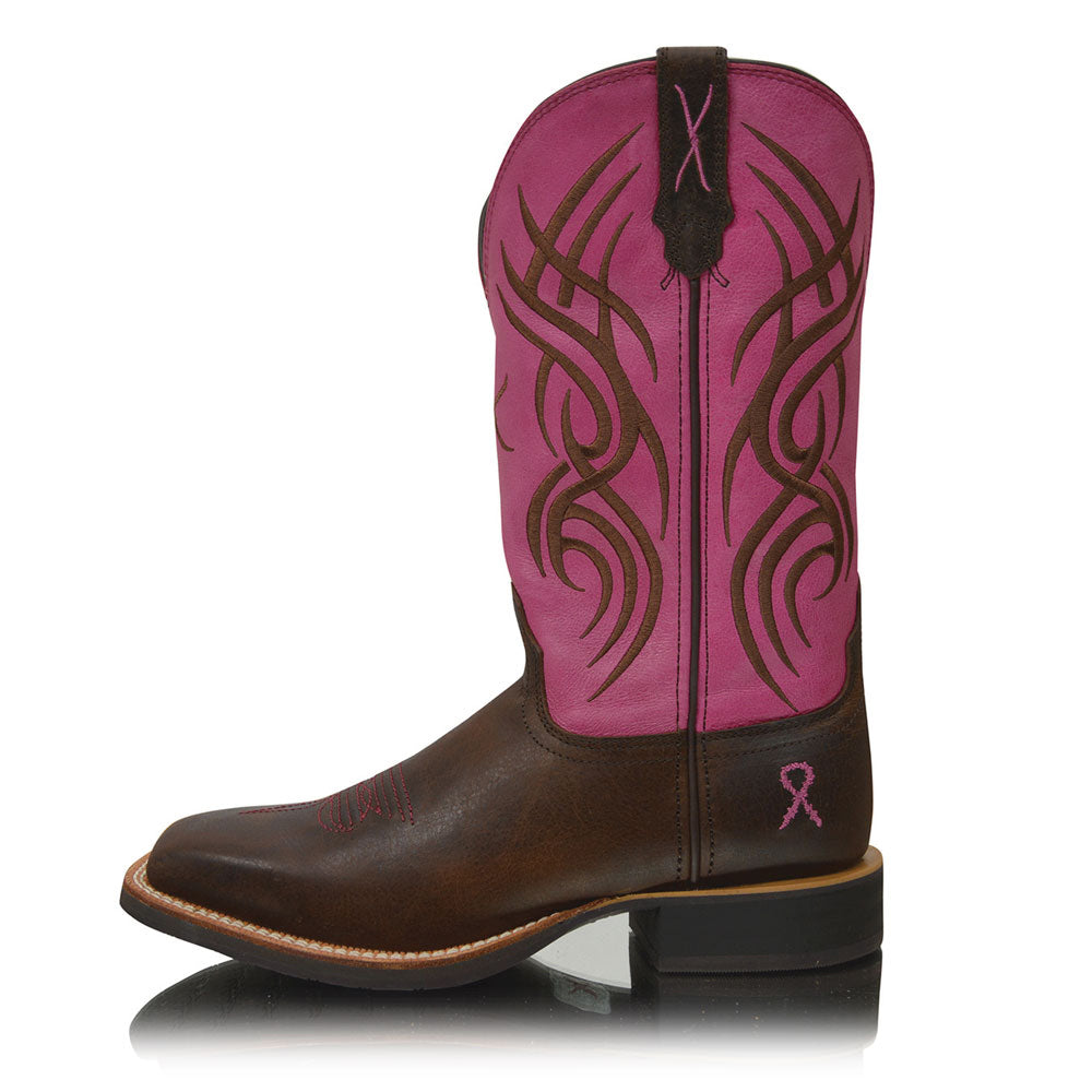 Twisted X Womens Pink Ribbon Ruff Stock Top Boot