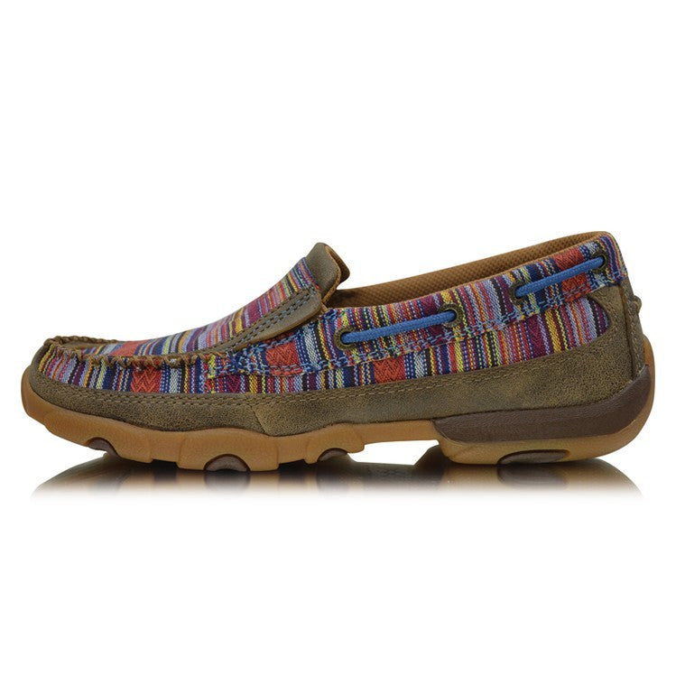 Twisted X Womens Driving Moc Bomber Multi Serape Slip On Boot