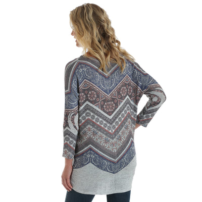Wrangler Womens Aztec Print Dolman Long Sleeve Top