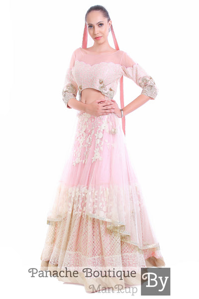 Baby Pink Colour Thread Work Jacket Lehenga