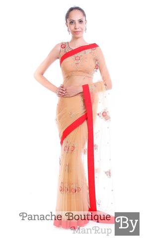 Beige Gold Colour Net Saree with Hand Embroidery