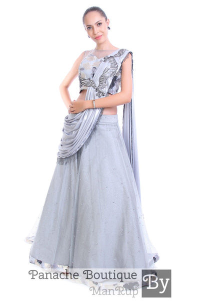 Grey Color Draped Lehenga