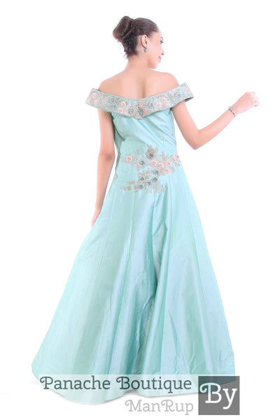 Aqua Blue Off-Shoulder Gown