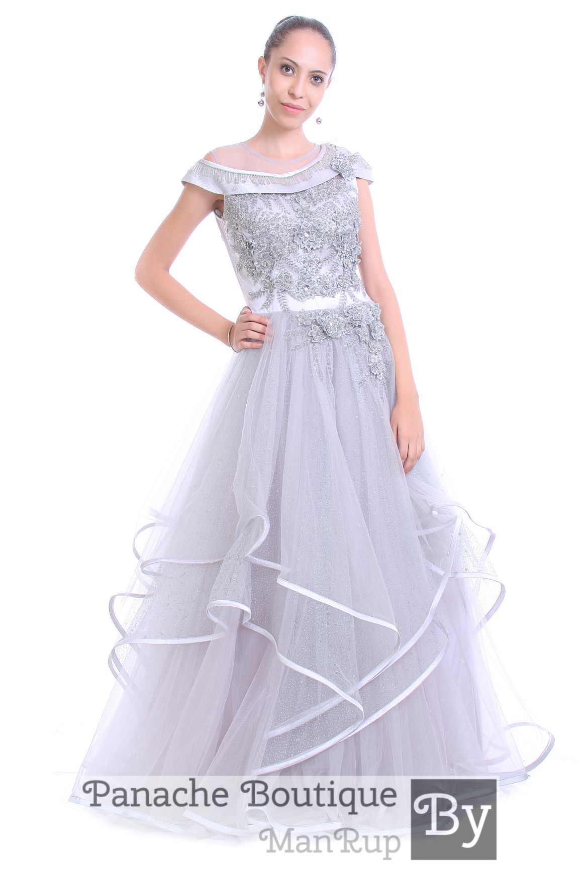 Grey Color Tulle Gown