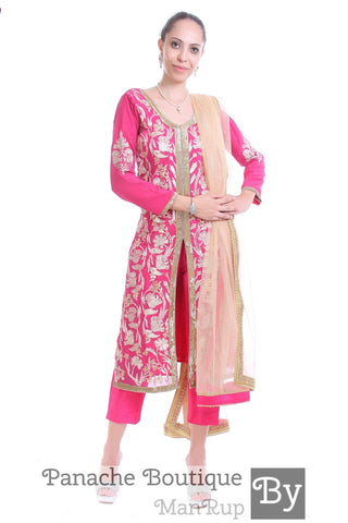 Pink Colour Gotta Patti Trouser Suit